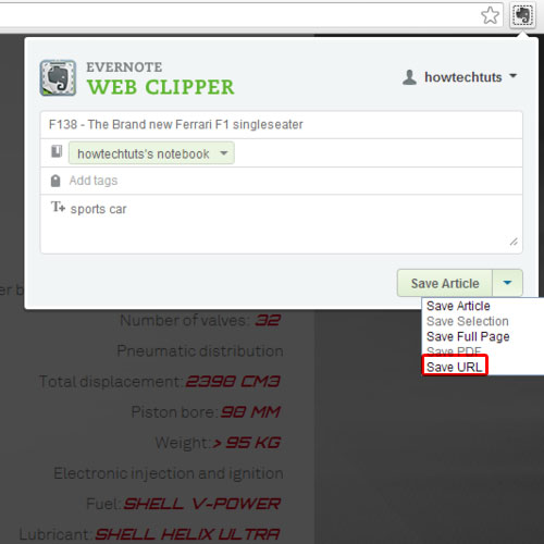 Save url of the article