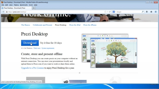download Prezi desktop installer and run it