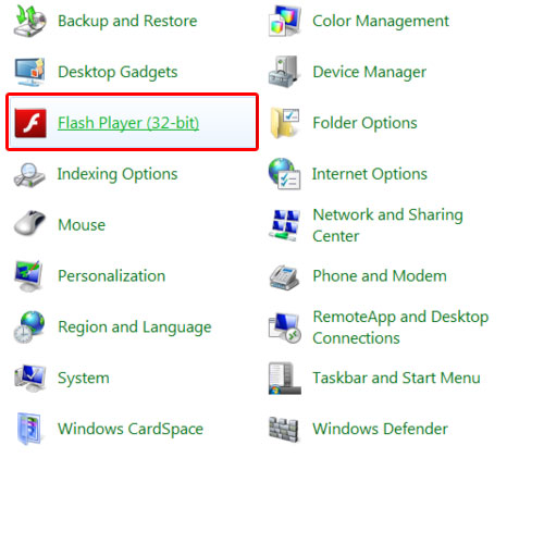 Flash Player in Control panel