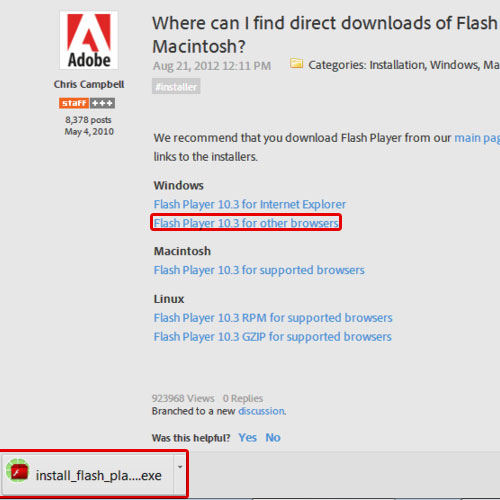 Downloading older flash player