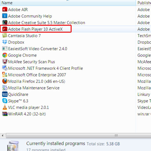 View Flash Player in Programs & Features