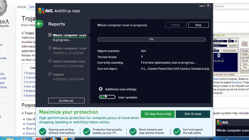 Using AVG to check for possible infections