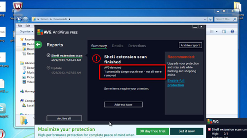AVG detects an infected file in the folder
