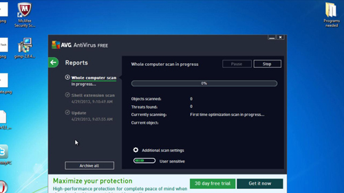 Running a system scan to check for other infections