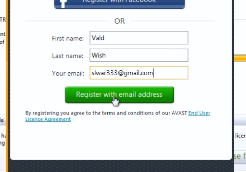 Register with email address