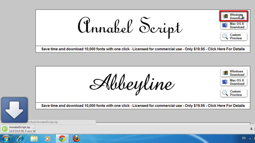 Downloading the font for Windows