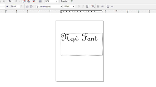 Using the new font in Corel Draw