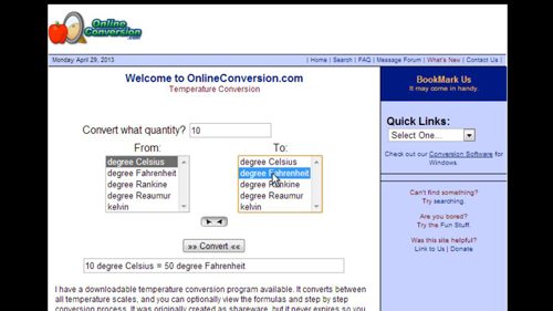 Using a conversion website
