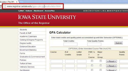 Navigating to a GPA calculator