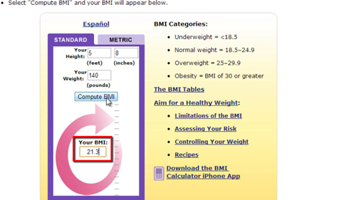 Your calculated BMI