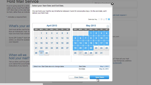 Selecting the dates for the hold