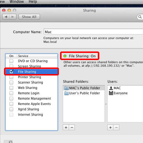 Click on the File Sharing option