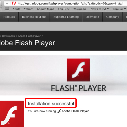 View the Adobe flash player page