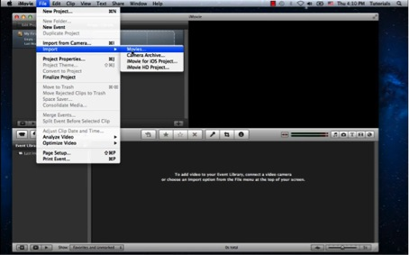 Launch iMovie and select Import > Movies