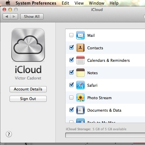 Activate Photo Stream in iCloud preferences