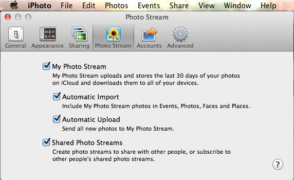 Verify settings In iPhoto preferences