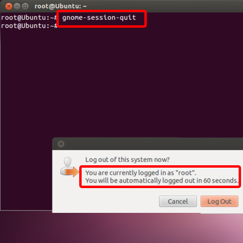Enter the log out command in the terminal application