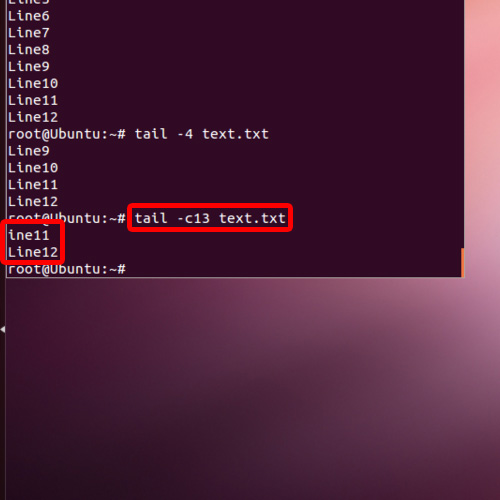 Enter command to see data according to its number of bytes