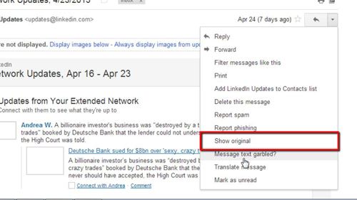 Showing the original email message