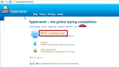 Starting a typing race