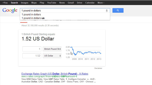 Using Google to convert a currency