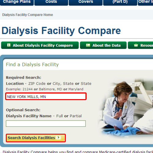 Search dialysis clinics by location