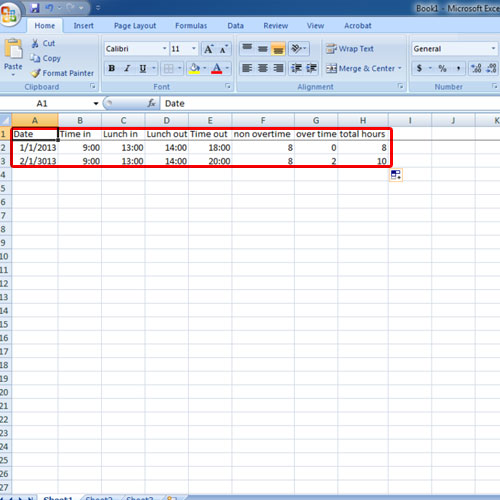 Data Entry in the timesheet