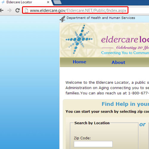 Go to the eldercare.gov website