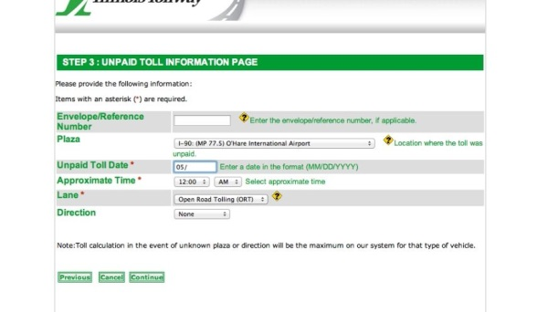 fill in toll info