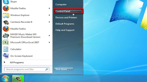 Opening Control Panel in Windows 7