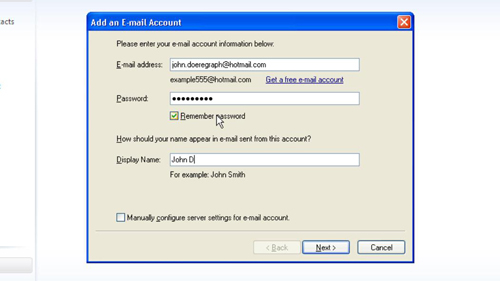 Adding your email information to the program