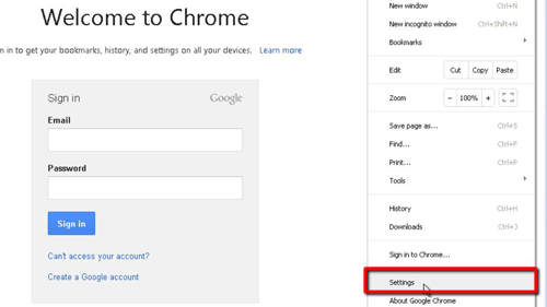 Opening the settings tab in Google Chrome