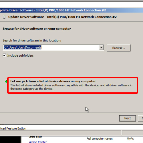 Select from a list of device drivers
