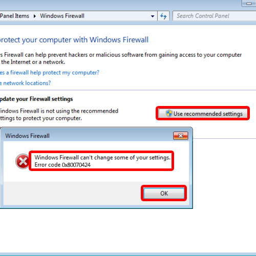 Windows Firewall Error