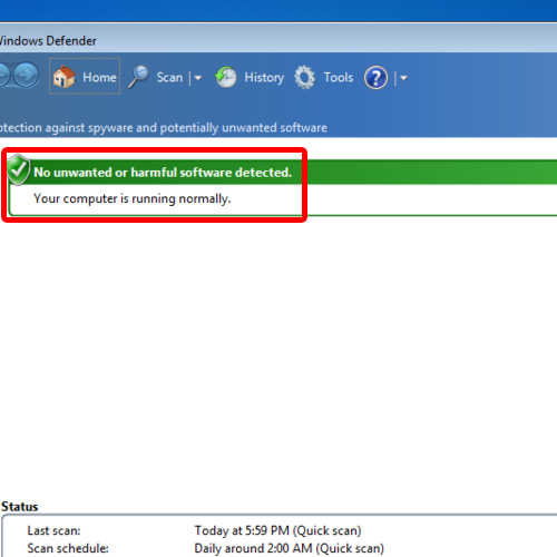 No error will be displayed when you'll open Windows Defender