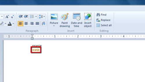 Spelling mistakes highlighted in Wordpad