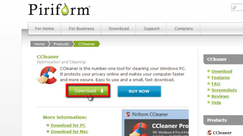 Downloading the program from Piriform