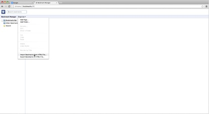 Select Import bookmarks from html file