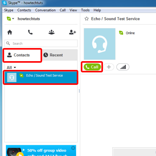 Make the sound test call in Skype