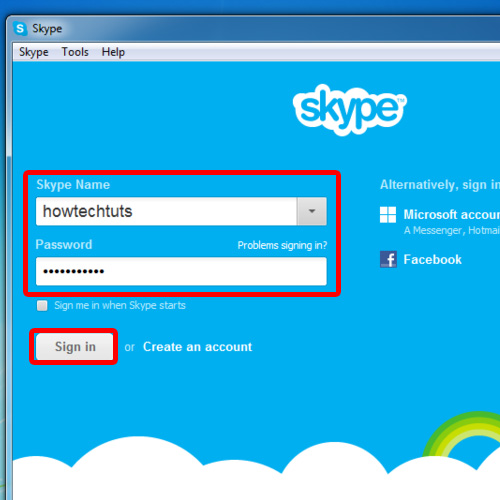 Sign in to skype