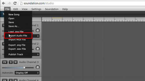 Importing an audio file into the program