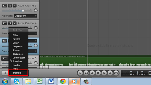 Adding an audio effect