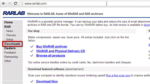 The WinRar page