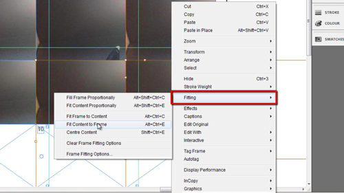 Adjusting the fitting of the images in the template