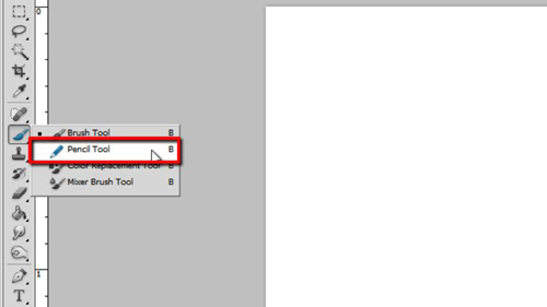 Accessing the pencil tool