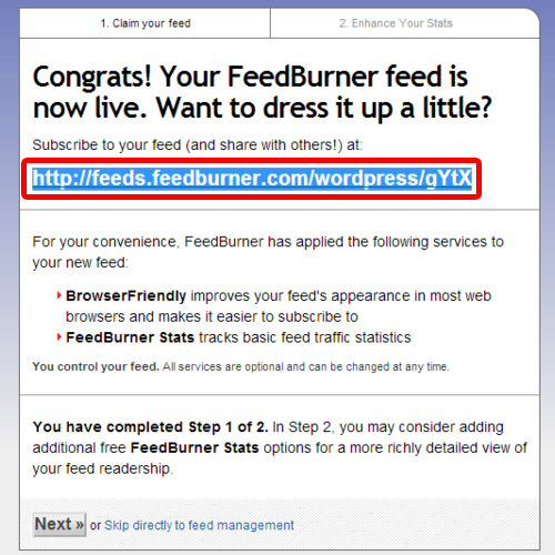 Copy the URL of feed
