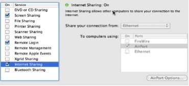 check internet sharing