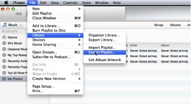 select File-Library-Export Playlist