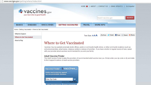 The governmental vaccines page