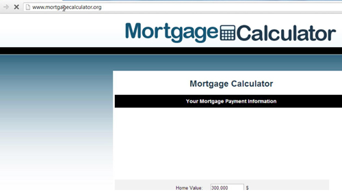 Accessing a mortgage calculator